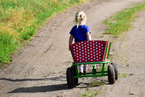 child walking down road pulling wagon to symbolize relocating in custody action